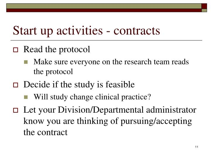 Start up activities - contracts