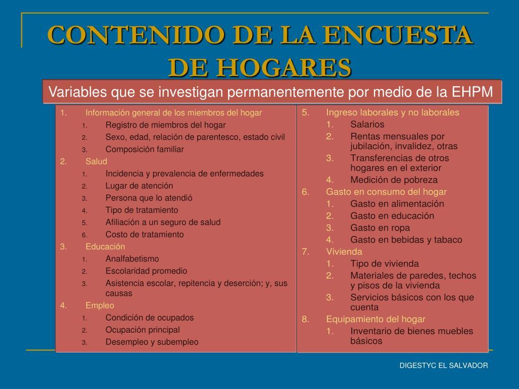 CONTENIDO DE LA ENCUESTA DE HOGARES