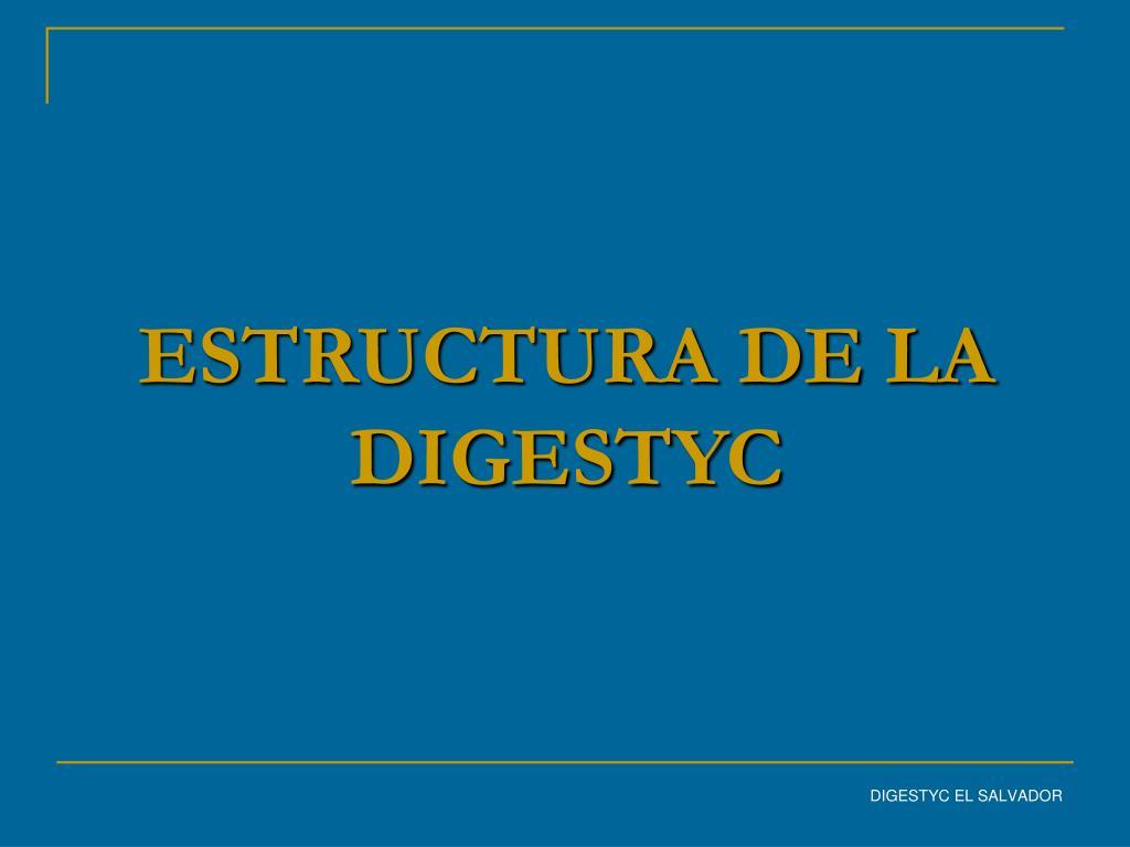 ESTRUCTURA DE LA DIGESTYC