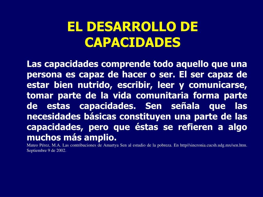 EL DESARROLLO DE CAPACIDADES