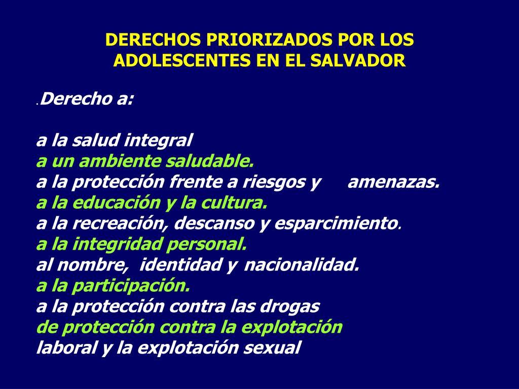 DERECHOS PRIORIZADOS POR LOS ADOLESCENTES EN EL SALVADOR