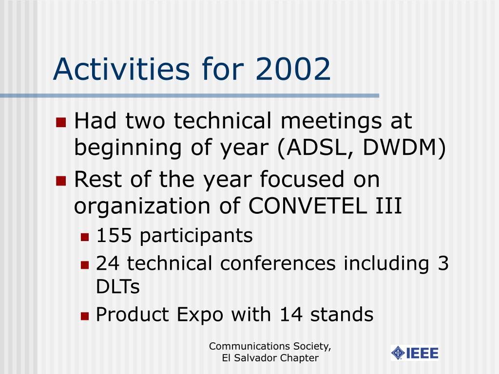 Activities for 2002