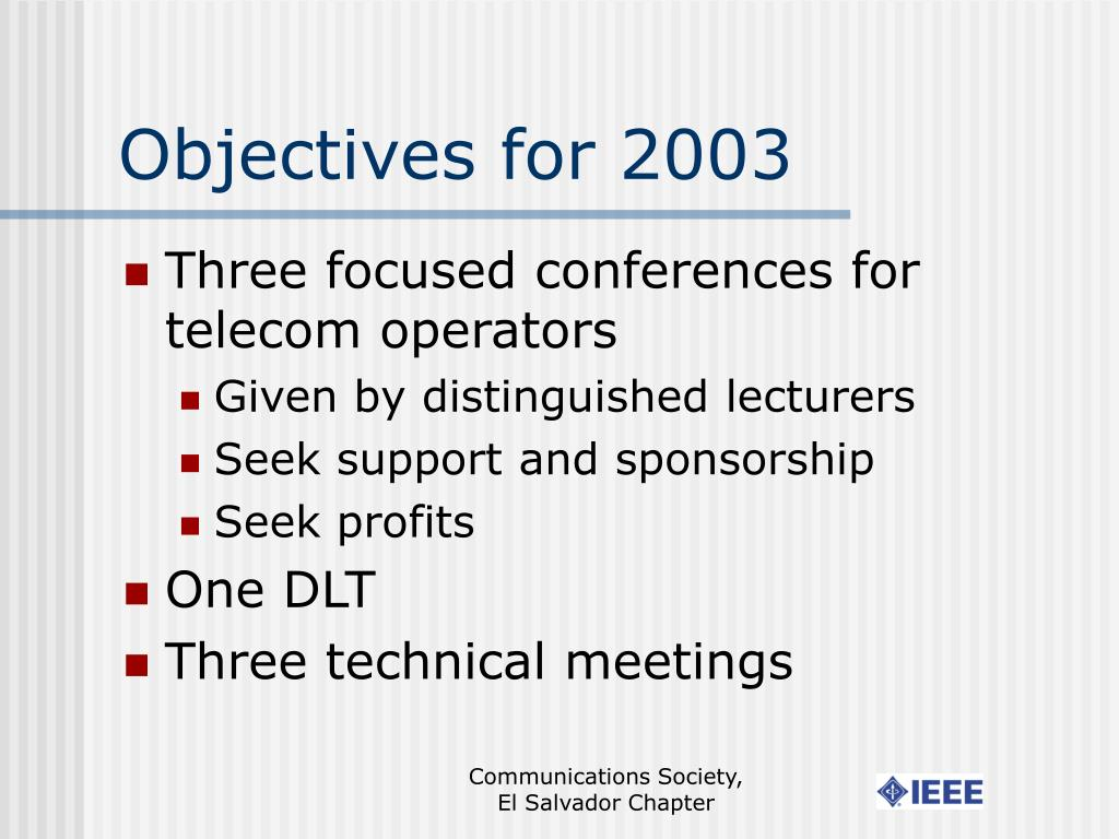 Objectives for 2003
