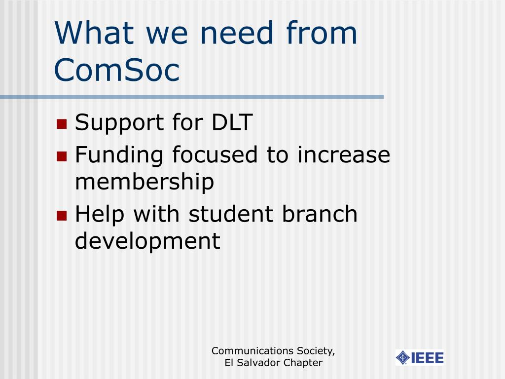What we need from ComSoc