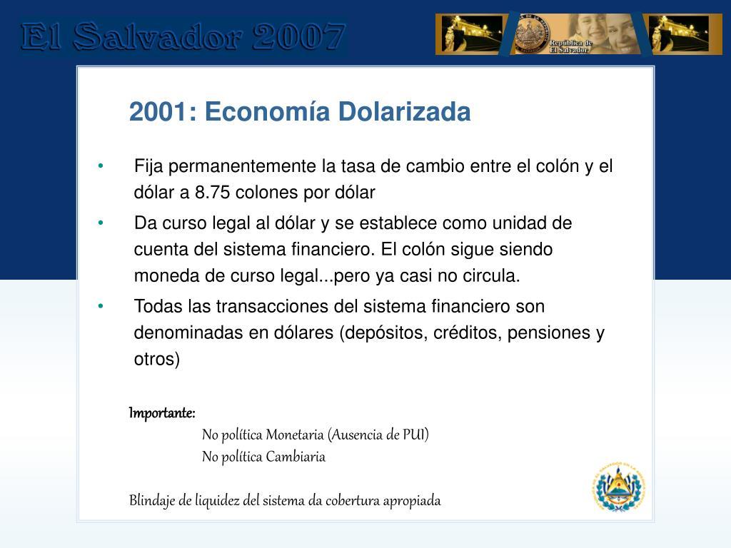 Fija permanentemente la tasa de cambio entre el colón y el dólar a 8.75 colones por dólar