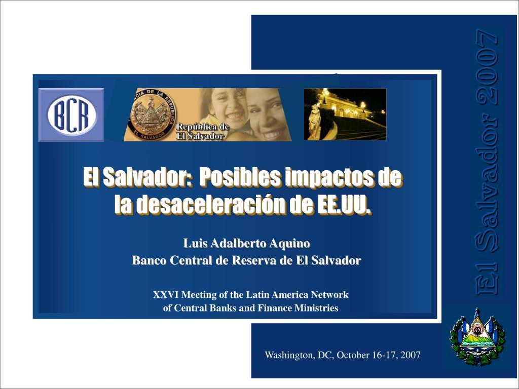 El Salvador:  Posibles impactos de
