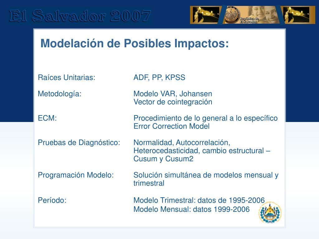 Modelación de Posibles Impactos: