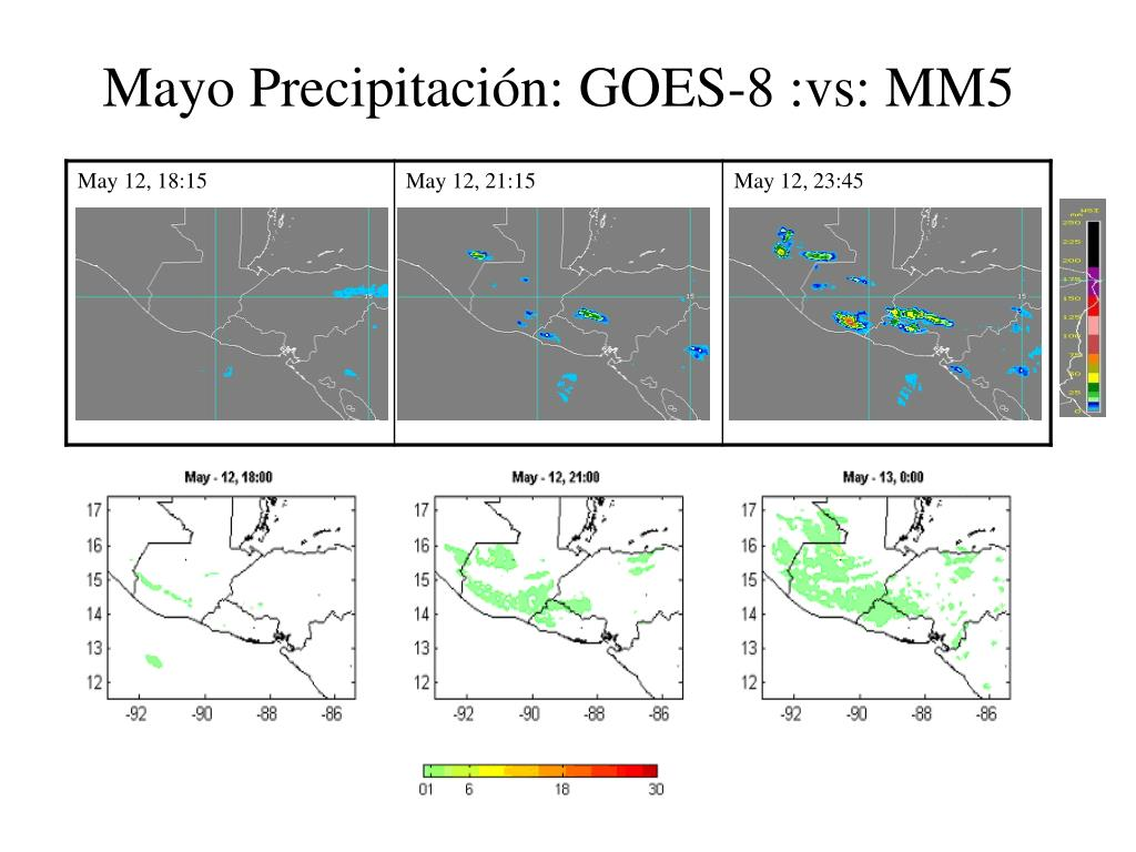Mayo Precipitación: GOES-8 :vs: MM5