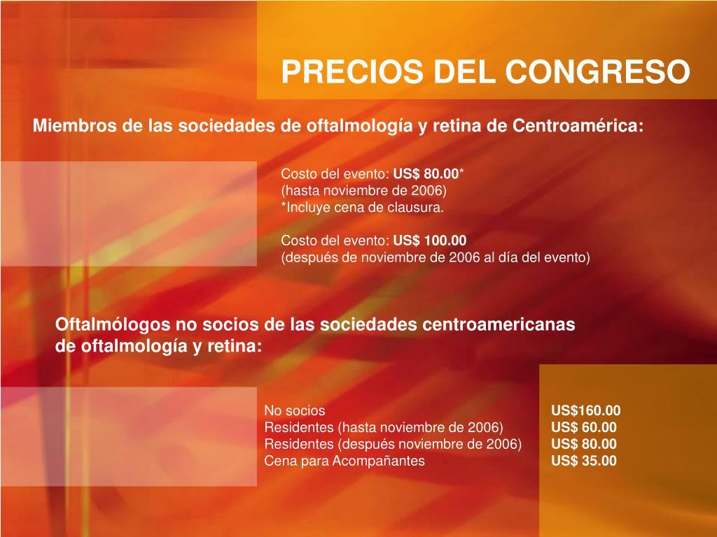 PRECIOS DEL CONGRESO