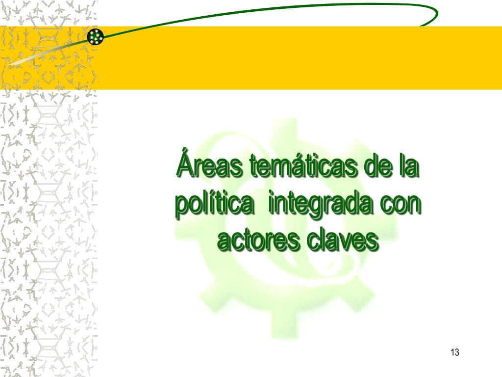 Áreas temáticas de la política  integrada con actores claves