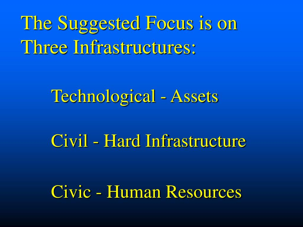 The Suggested Focus is on Three Infrastructures: