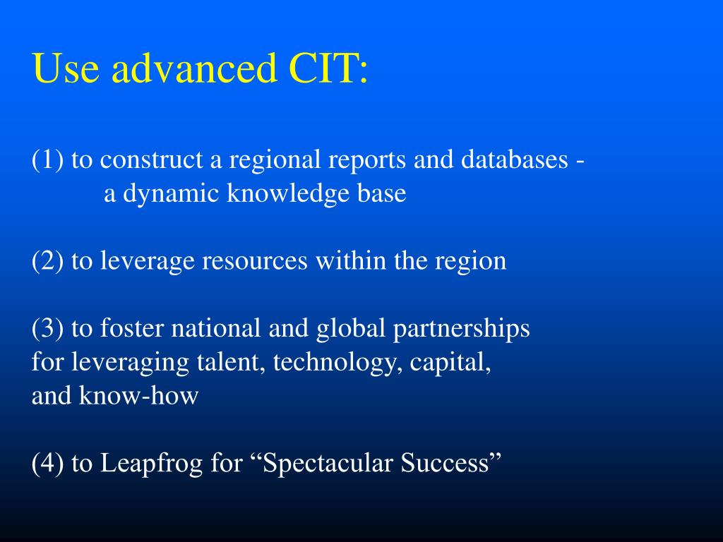 Use advanced CIT: