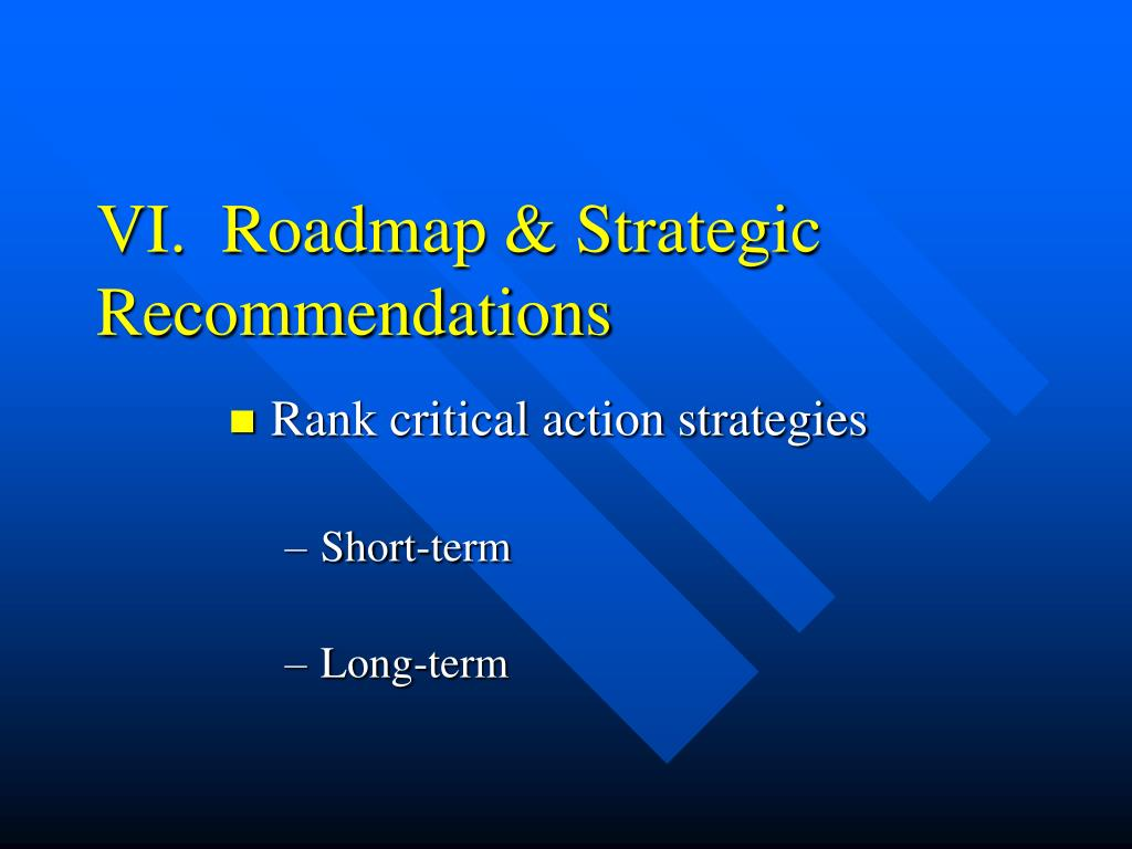 VI.  Roadmap & Strategic Recommendations
