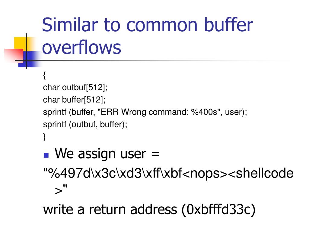 Similar to common buffer overflows