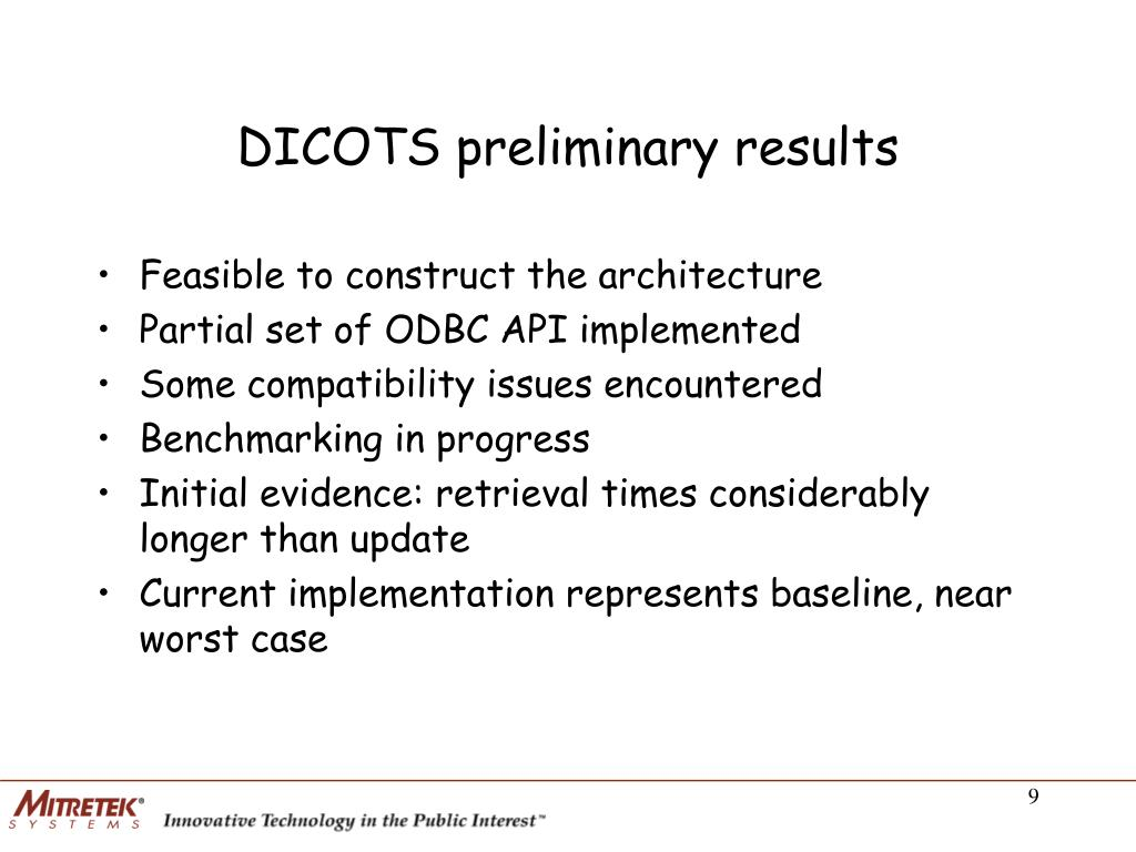 DICOTS preliminary results