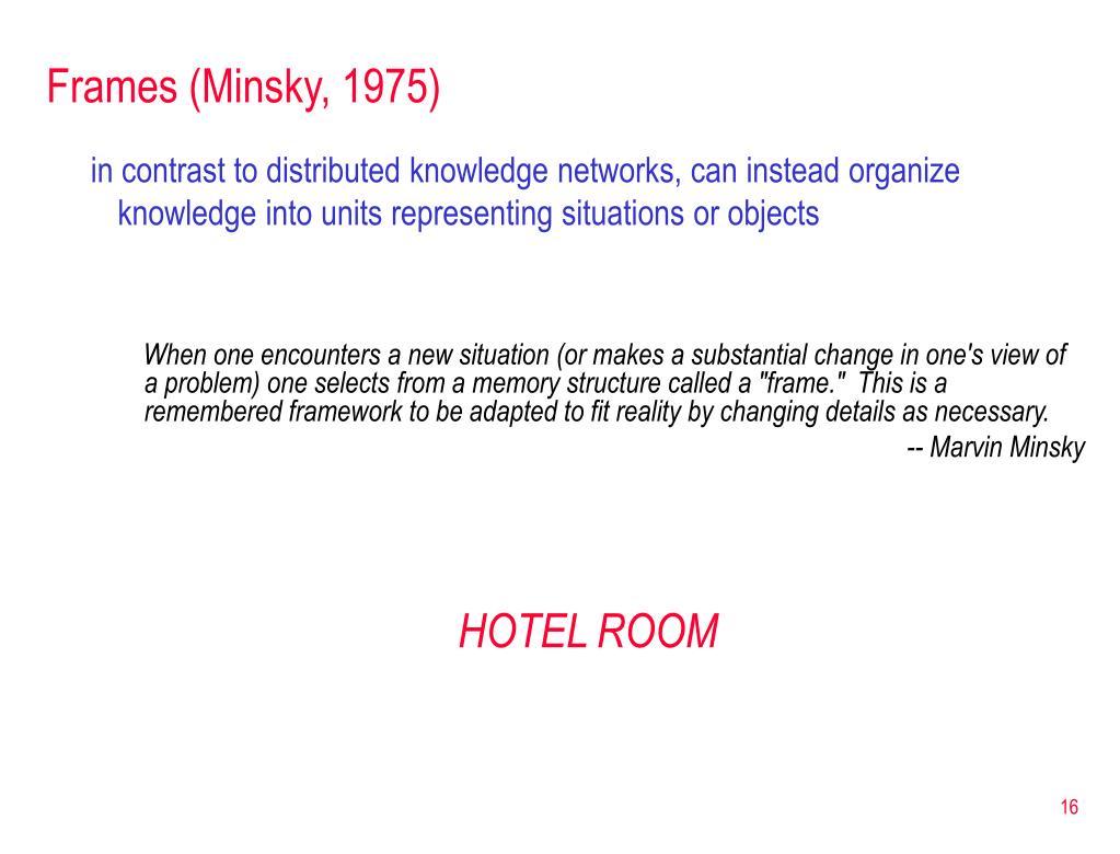 Frames (Minsky, 1975)