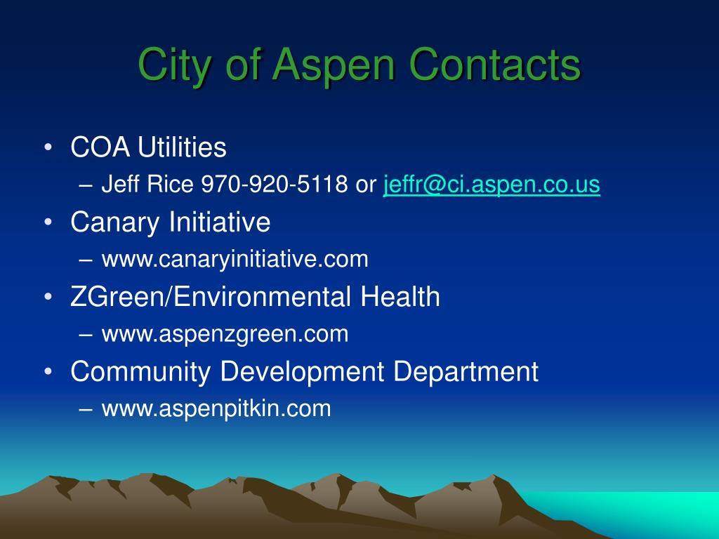 City of Aspen Contacts