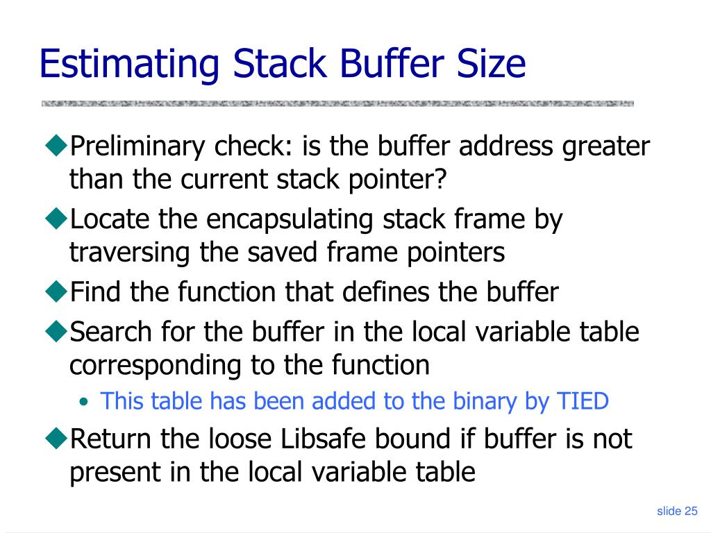 Estimating Stack Buffer Size