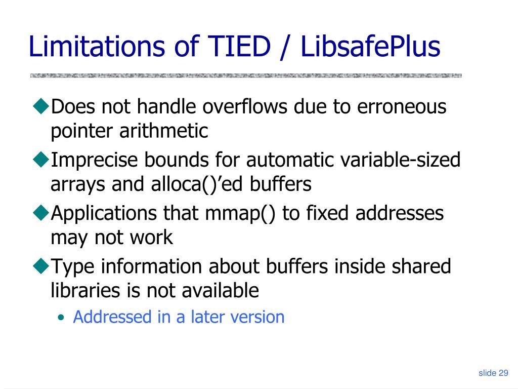 Limitations of TIED / LibsafePlus