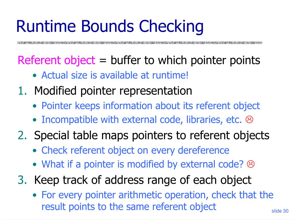 Runtime Bounds Checking