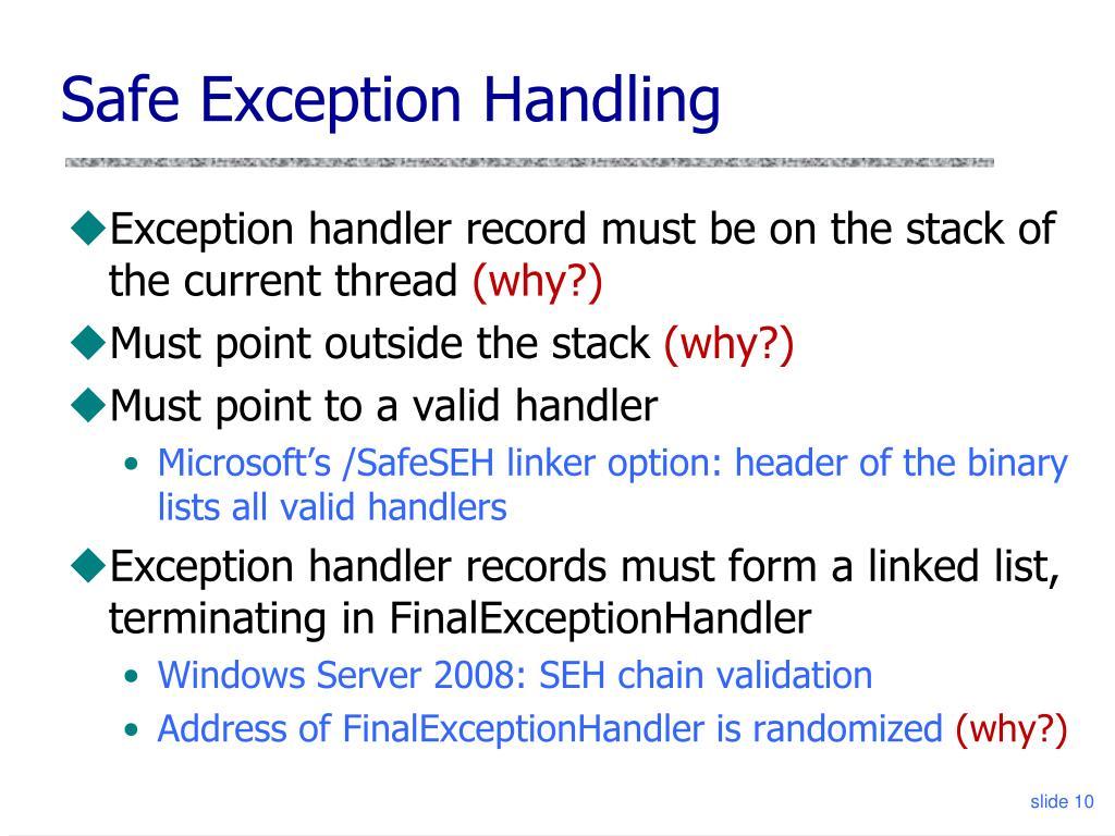 Safe Exception Handling