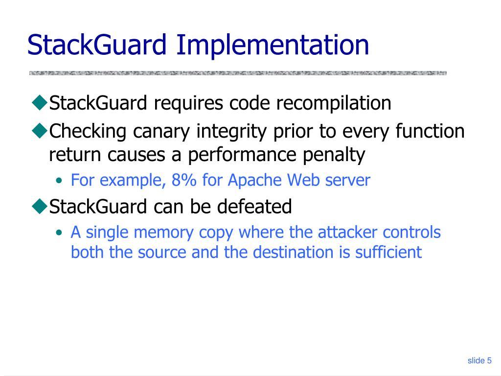 StackGuard Implementation