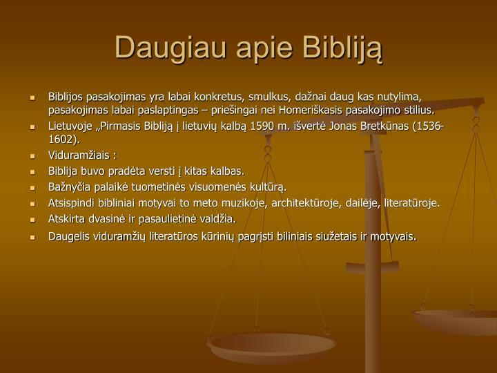 Daugiau apie Bibliją