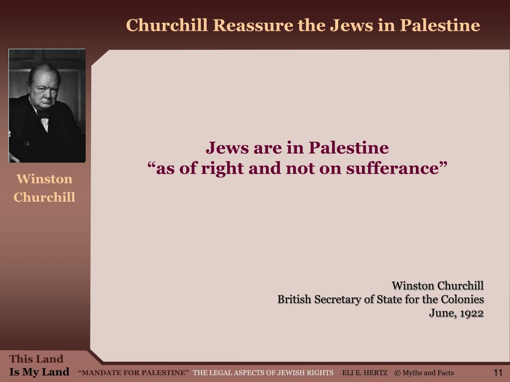 Churchill Reassure the Jews in Palestine