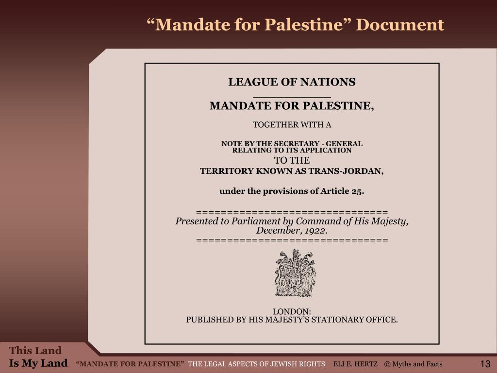 """Mandate for Palestine"" Document"