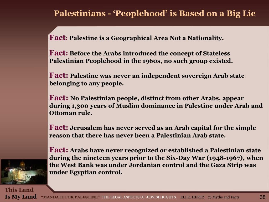 Palestinians - 'Peoplehood' is Based on a Big Lie