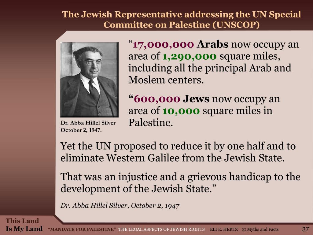 The Jewish Representative addressing the UN Special Committee on Palestine (UNSCOP)