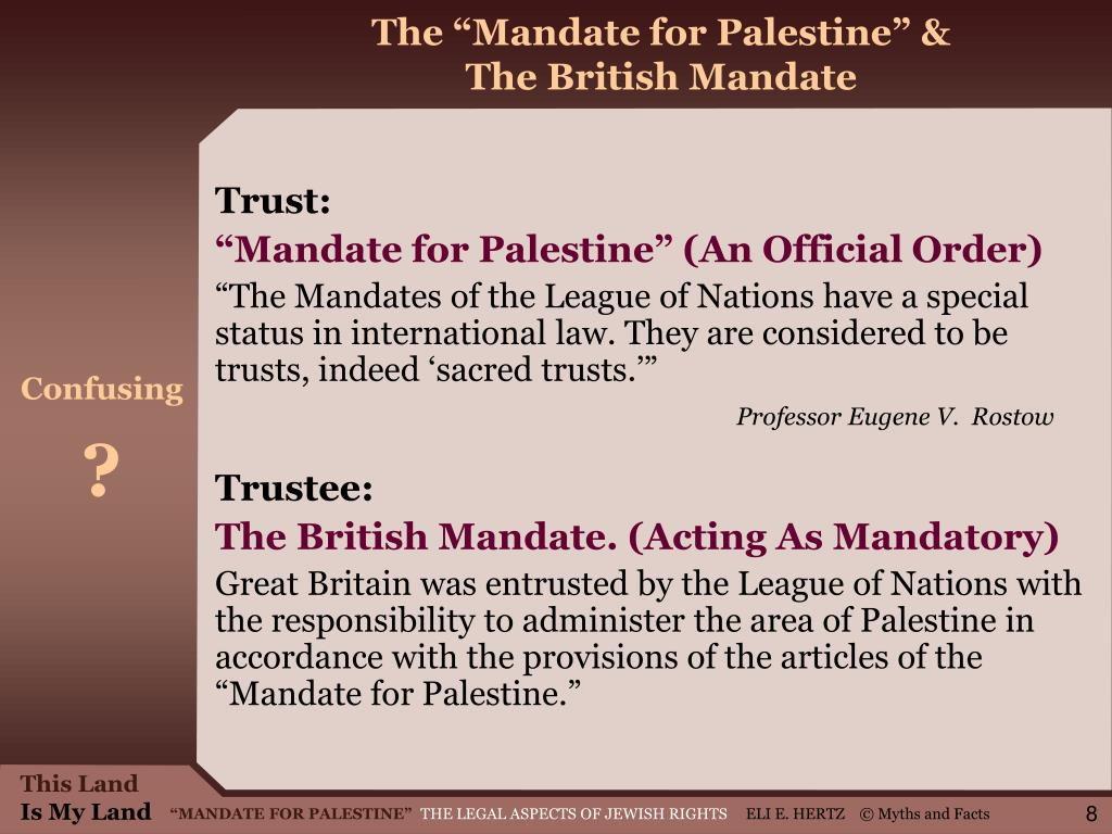 "The ""Mandate for Palestine"" &"