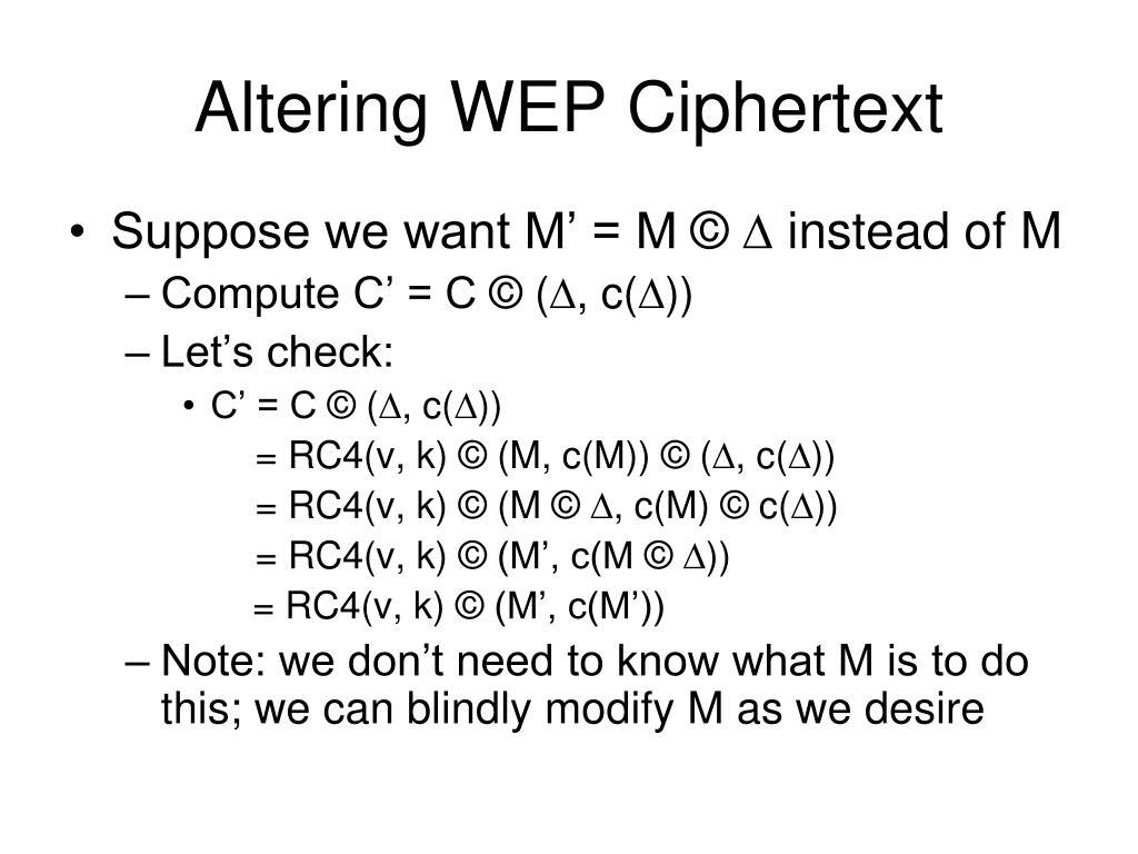Altering WEP Ciphertext