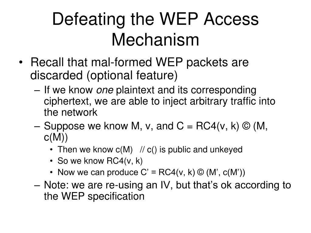 Defeating the WEP Access Mechanism