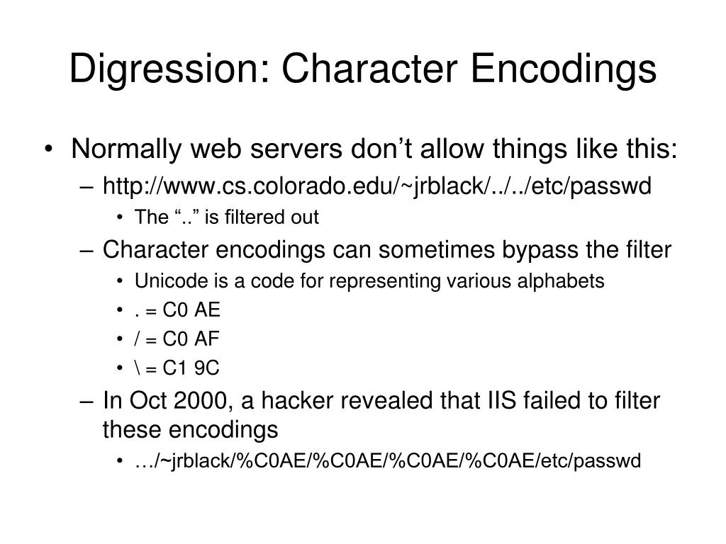 Digression: Character Encodings