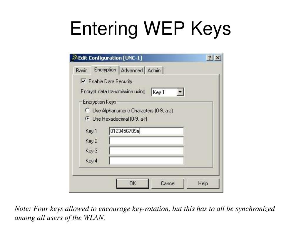 Entering WEP Keys