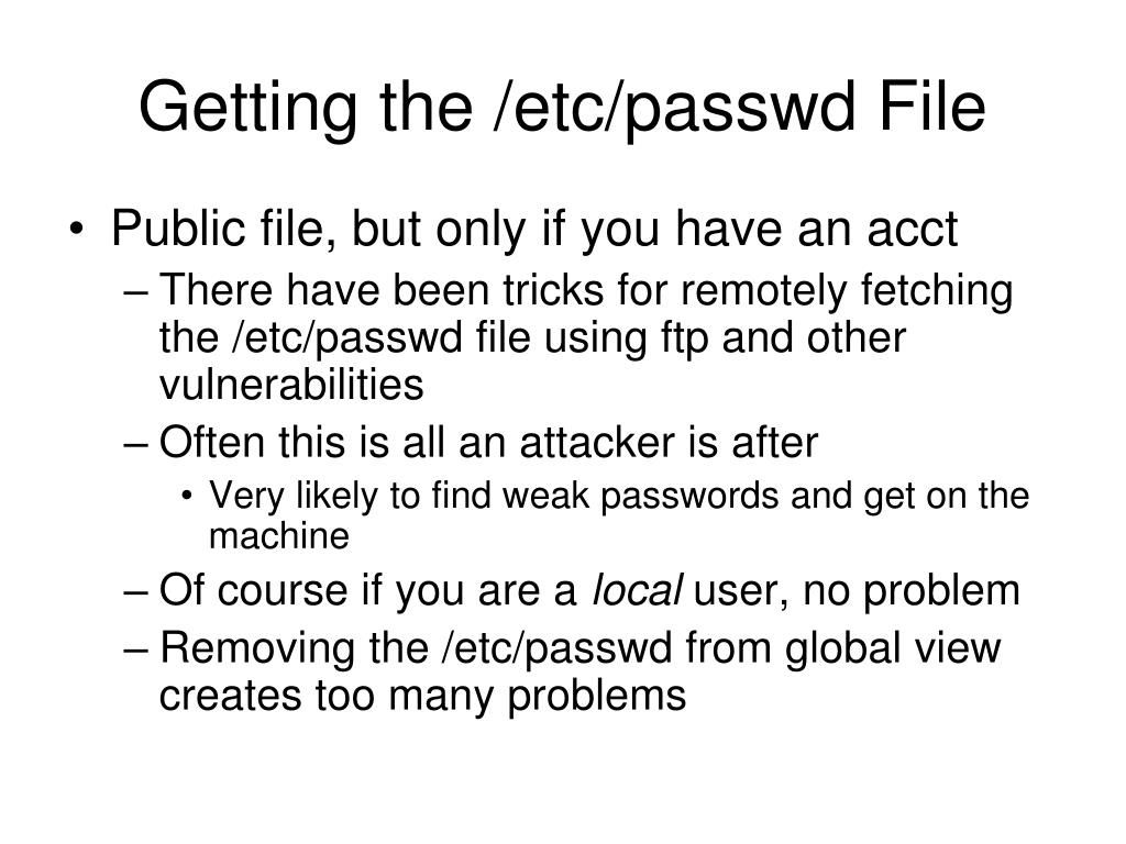 Getting the /etc/passwd File