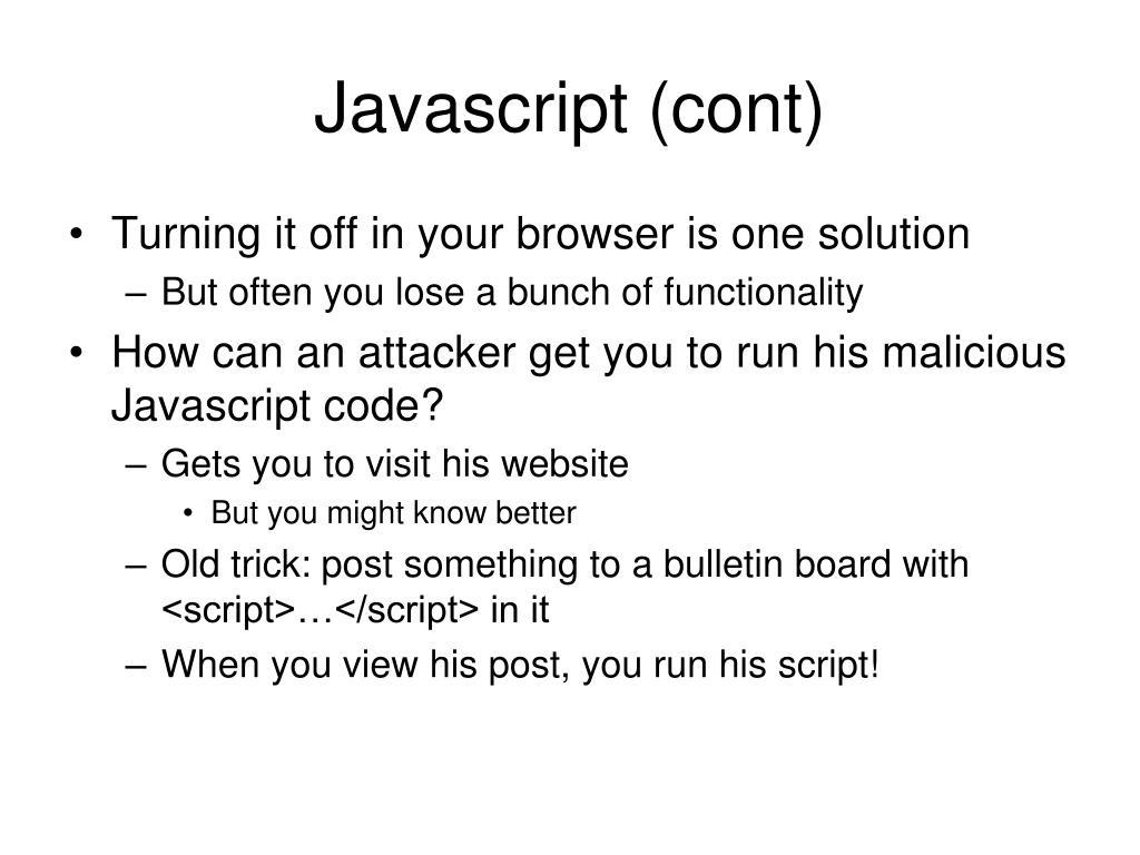 Javascript (cont)