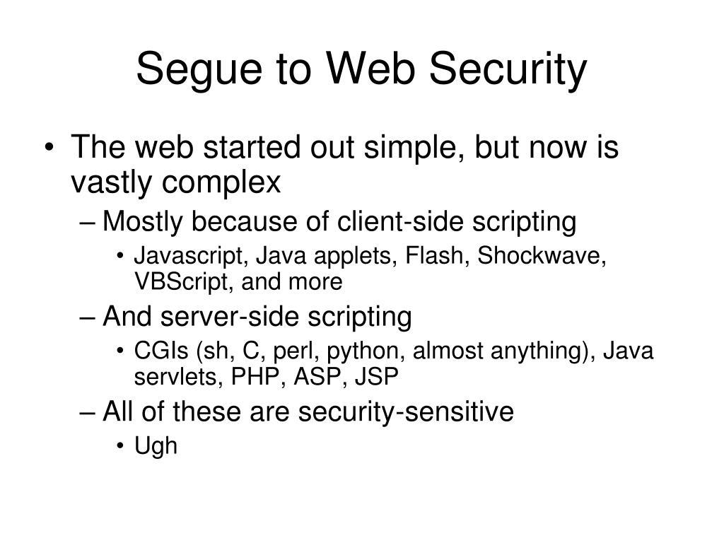 Segue to Web Security