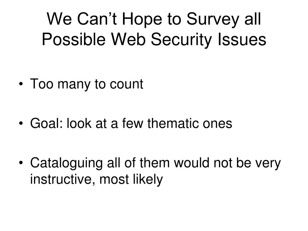 We Can't Hope to Survey all Possible Web Security Issues
