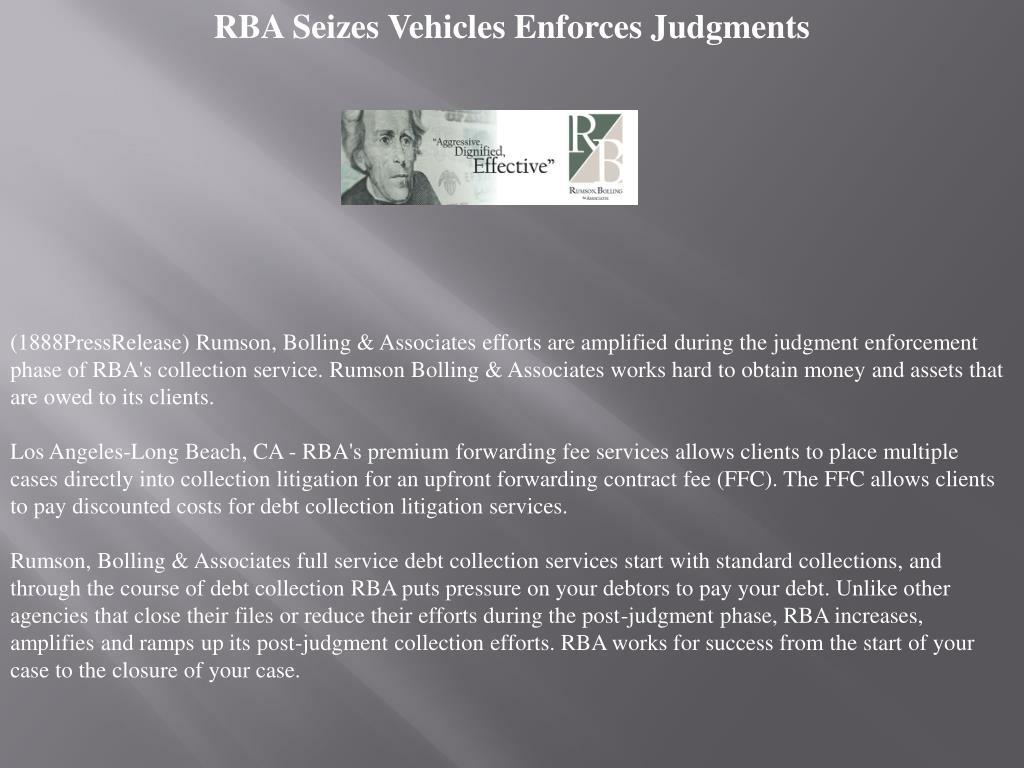 RBA Seizes Vehicles Enforces Judgments