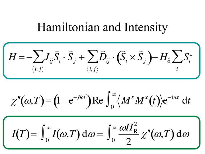 Hamiltonian and intensity