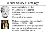 a brief history of ontology