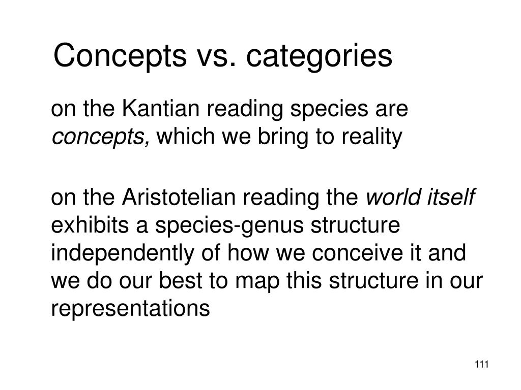 Concepts vs. categories