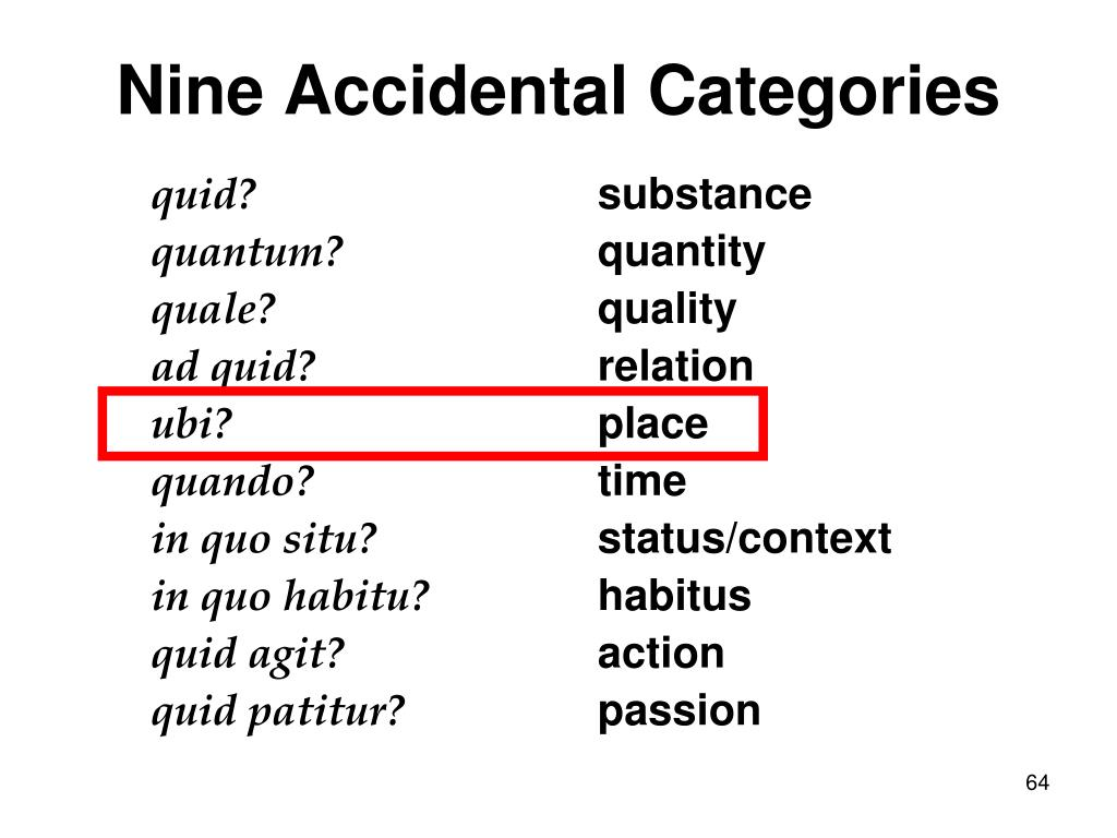 Nine Accidental Categories