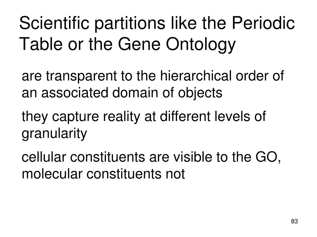 Scientific partitions like the Periodic Table or the Gene Ontology