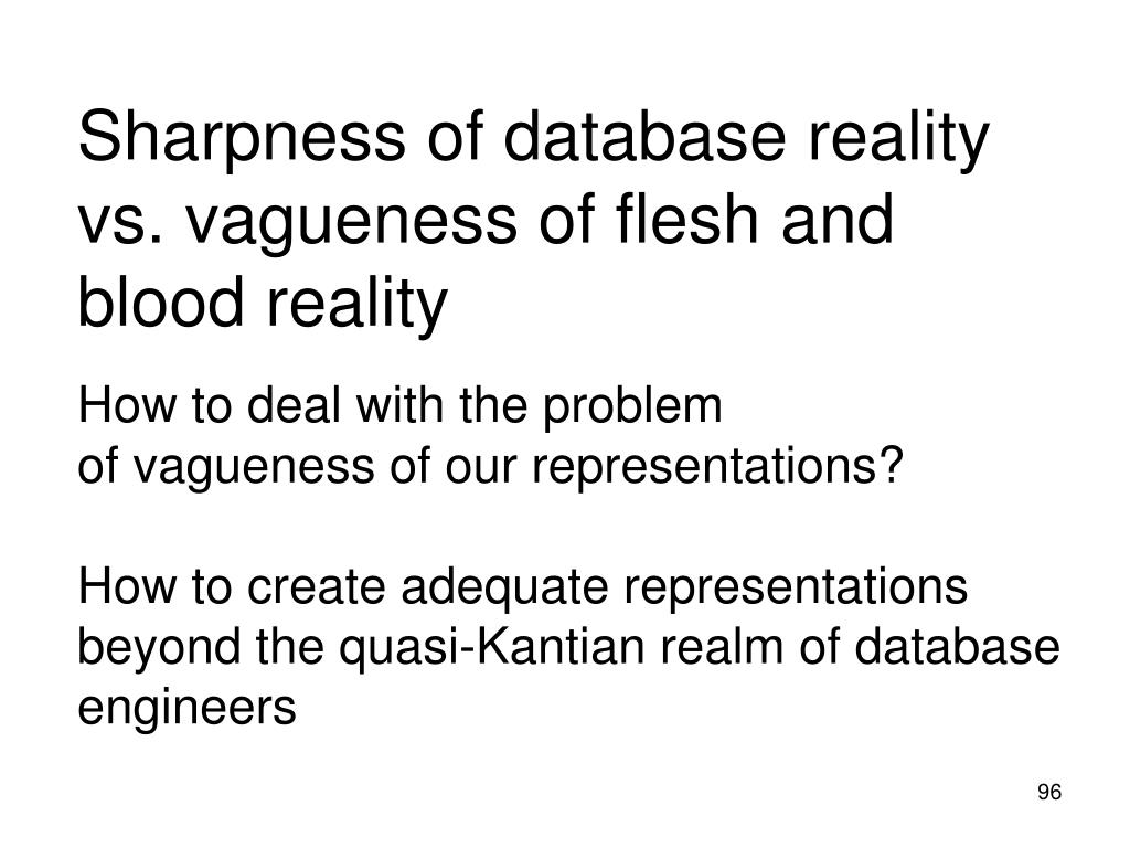 Sharpness of database reality vs. vagueness of flesh and blood reality