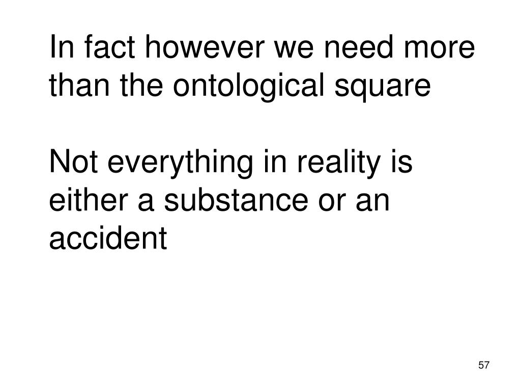 In fact however we need more than the ontological square