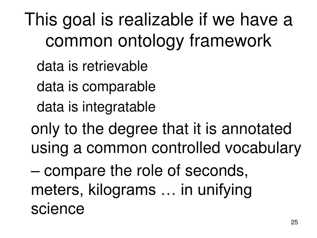 This goal is realizable if we have a common ontology framework