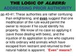 the logic of albers addressing prior authority62